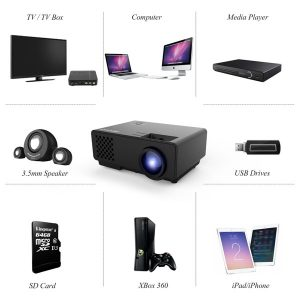 Proyector- RD810 Mini Proyector LCD de 1500 Lumens-movil